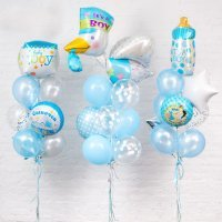 Композиция из шаров «Для мальчика Выписка из роддома» №128