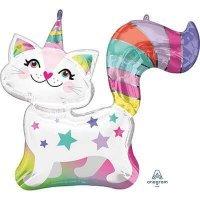 Воздушный шар с гелием фигура кошка единорог 78см