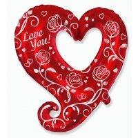Фигура из Фольги «Сердце с розами» (81см.)