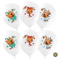 Воздушные шарики с гелием Три кота Ура, Ура, белый ассорти, 30см