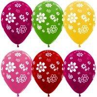 Воздушные шары с гелием с рисунком «Цветы Ассорти»