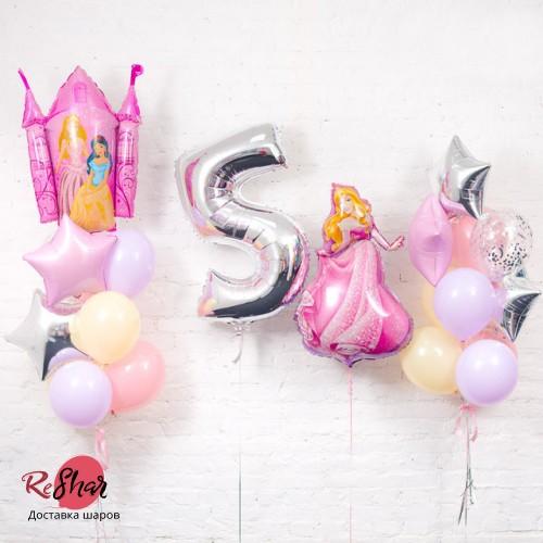 Композиция из шаров «День рождения Принцессы цифра 5» №125