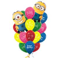 Фонтан из шаров с днём рождения миньоны