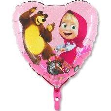Фольгированный шар Сердце Маша и Медведь , 46см