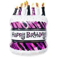 Фольгированный шар (31''/79 см) Фигура, Торт со свечками, Розовый