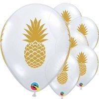 Воздушные шары с гелием Ананас золотой, прозрачный 30см
