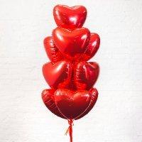 Композиция из шаров «Фольгированые сердца красные» №186
