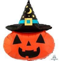 Воздушный шар с гелием фигура, тыква в колпаке, хэллоуин 71см