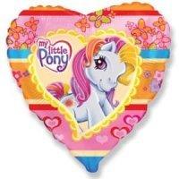 Фольгированный воздушный шар (18''/46 см) Сердце, Моя маленькая пони Pony