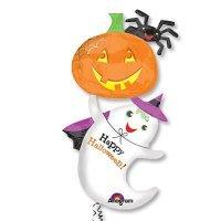 Воздушный шар с гелием фигура, приведение с тыквой, хэллоуин 137см