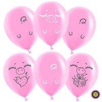 Воздушные шары с гелием с рисунком «Розовый поросёнок»