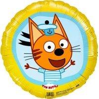 Шар фигура круг, Три кота, Жёлтый, Коржик Морячок 46см