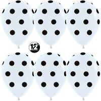 Воздушные шары с гелием с рисунком «Чёрный горох на белом»