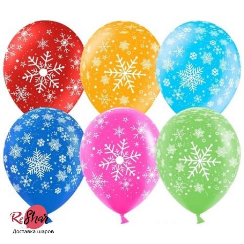 Воздушные шары с гелием с новым годом, снежинки ассорти 30см