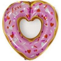 Фольгированный шар (30''/76 см) Сердце, Пончик